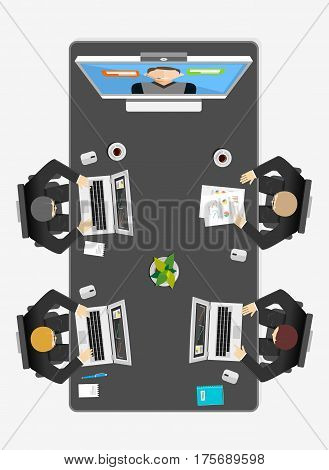 Team video conference concept illustration.Online meeting. Video call.