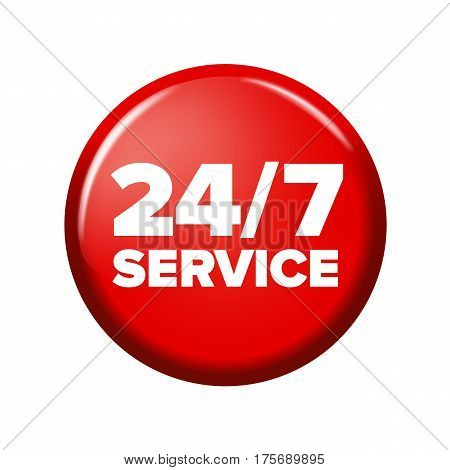Bright Red Round Button With Words '24/7 Service'