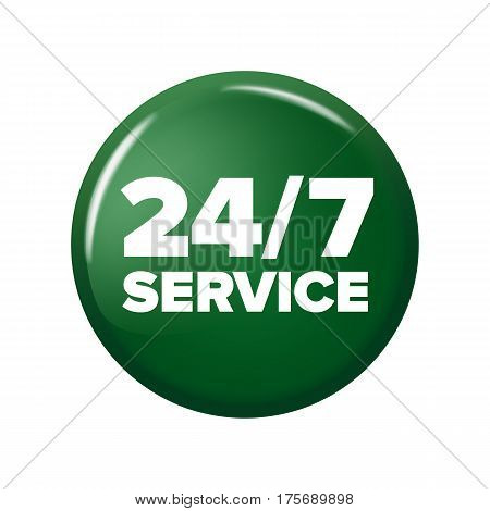 Bright Green Round Button With Words '24/7 Service'
