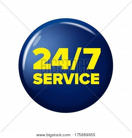 Bright Navy Blue Round Button With Words '24/7 Service'