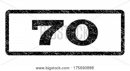 70 watermark stamp. Text caption inside rounded rectangle with grunge design style. Rubber seal stamp with dust texture. Vector black ink imprint on a white background.