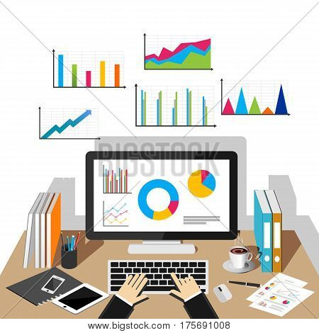 Business growth concept illustration. Flat design illustration concepts for business statistics ,business analytics , business growth monitoring trend.