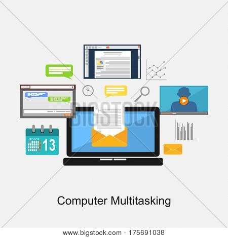 Computer multitasking or computer applications concept illustration.