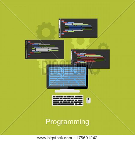 Programming concept illustration. Flat design illustration concepts for coding, programming, operating system, and computer multitasking process.