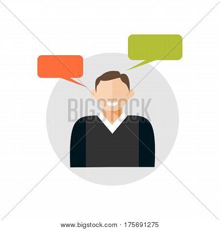 Person speaking , speech , talk symbol. Verbal communication icon.