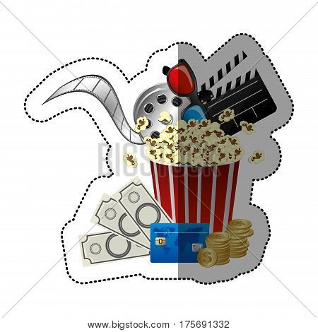 colorful sticker with popcorn cup with glasses 3D and clapper board and money and movie tickets in front vector illustration