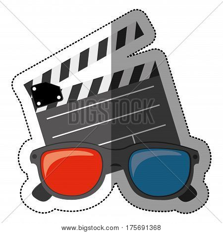 colorful sticker with clapperboard cinema and 3D cinema glasses vector illustration