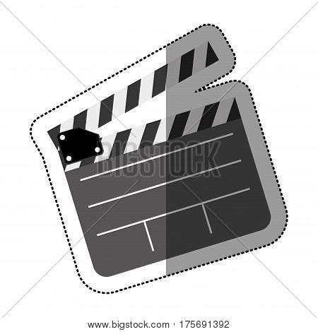 grayscale sticker with clapperboard cinema vector illustration