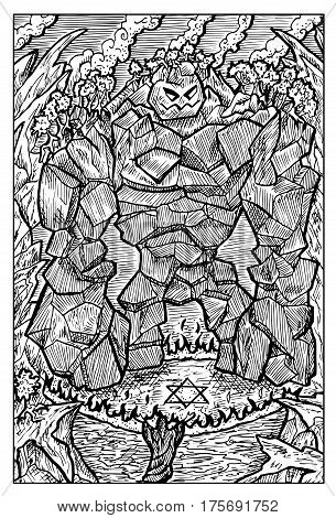 Golem, stone monster, and magician. Hand drawn vector illustration. Engraved line art drawing, black and white doodle. See all fantasy collection in my portfolio set