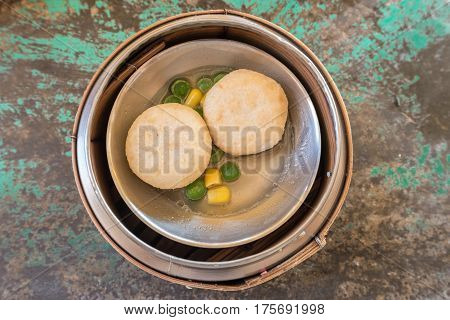 Chinese Dim sum in bamboo basket, Chinese foods