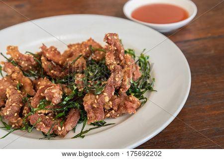 Deep Fried Dried Pork With Crispy Leech Lime