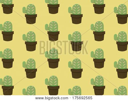 Set of cactus houseplant pattern collection graphic