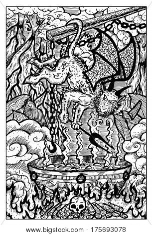 Imp with pot for sinful people and souls in hell. Hand drawn vector illustration. Engraved line art drawing, black and white doodle. See all fantasy collection in my portfolio set