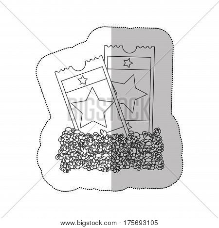 grayscale contour sticker of popcorn and movie tickets vector illustration