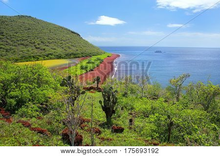 View Of Red Beach And Lagoon Of Rabida Island In Galapagos National Park, Ecuador