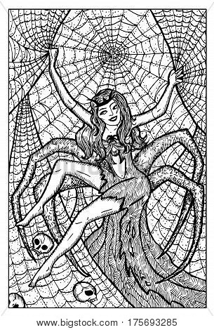 Arachne. Spider woman. Hand drawn vector illustration. Engraved line art drawing, black and white doodle. See all fantasy collection in my portfolio set