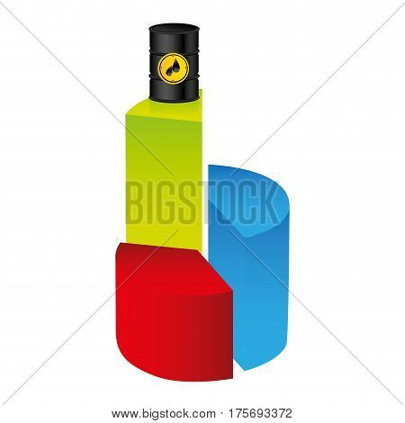 colorful silhouette with statistics graphs with grown oil price vector illustration
