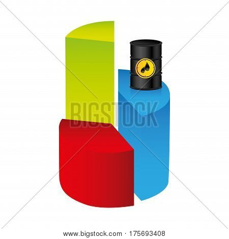 colorful silhouette with statistics graphs with stable oil price vector illustration