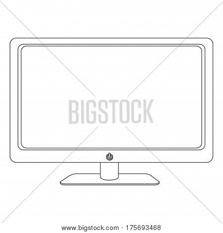 grayscale contour of screen monitor vector illustration