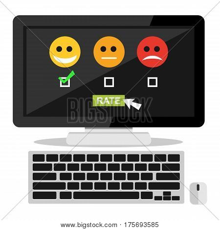 Feedback illustration. Flat design. Feedback or Rating system on desktop screen. Giving feedback concept.
