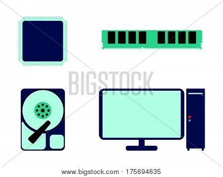 Cpu, Ram, Hdd And Computer Icon. Flat Vector Illustration On White Background.