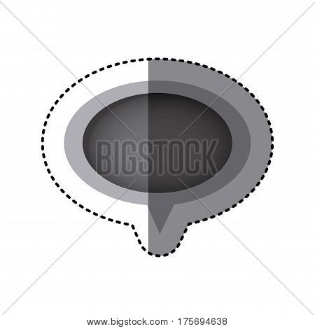 grayscale sticker of oval speech with tail vector illustration
