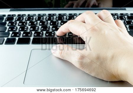 Close Up Hand Type On Laptop Keyboard, Technology Concept
