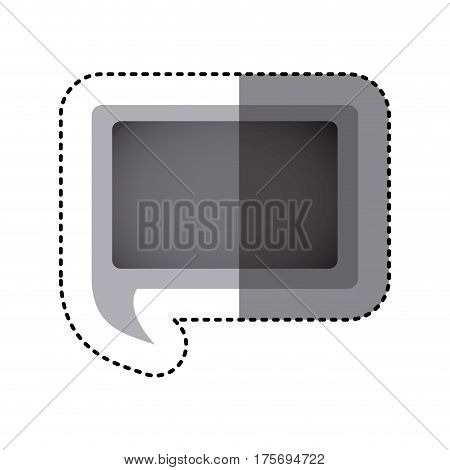 grayscale sticker of rectangular speech with tail vector illustration