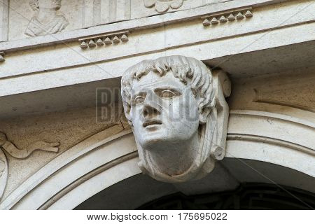 Architectural Detail - Carved Face Above The Arch In Trieste, Italy