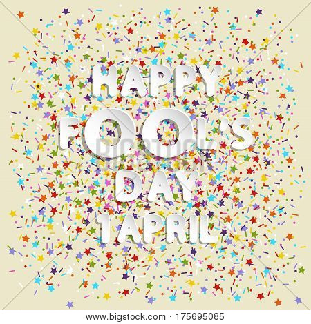 rounded lettering vector of happy fool's day 1 april on color stars lines and dots backgrounds