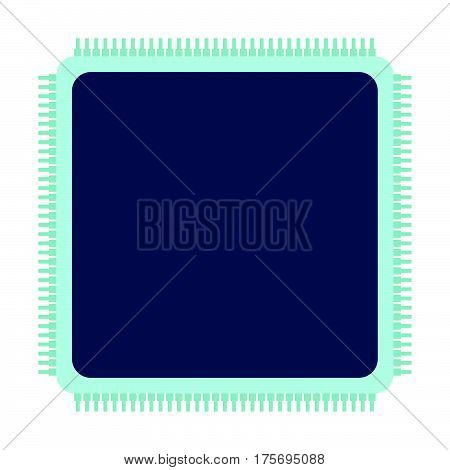 Cpu Icon. Flat Vector Illustration On White Background.
