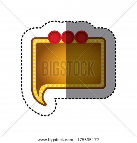 sticker of yellow rectangular speech with tail and red circles on top side vector illustration