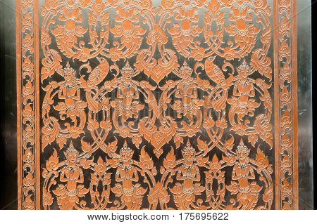 UDON THANI,THAILAND - JAN 25,2014: Image of detail at the base of the flower on bronze in the Wihan of Wat Pa Phu Kon is located in the Udon Thani Province. The temple was built between 2010 and 2013.
