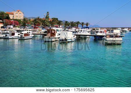 Town Of Orebic Marina On Peljesac Peninsula, Croatia.