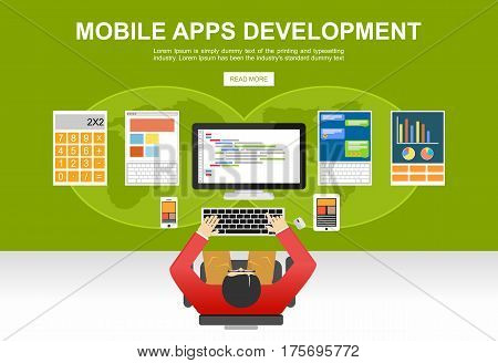 Flat design illustration concepts for mobile apps, development,programmer, developer application development