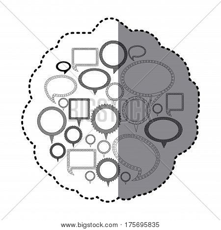 grayscale silhouette adhesive with speech bubble icons vector illustration