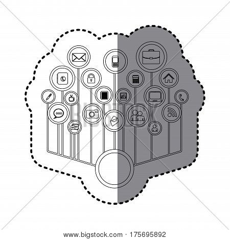 grayscale sticker with tech icons network vector illustration