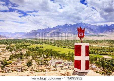 Beautiful view to Indus Valley from Thiksay monastery in Ladakh, Kashmir, India