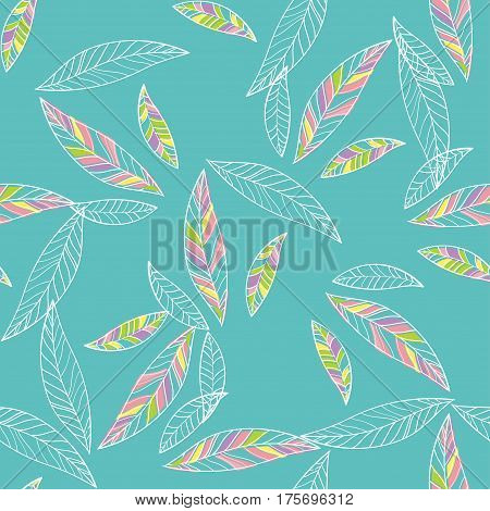 Seamless Trendy Pattern design with doodle spring leafs on blue background. design of wallpaper, fabric, card, packaging and decorative textile. Concept for womens day, Easter, birthday and other holidays