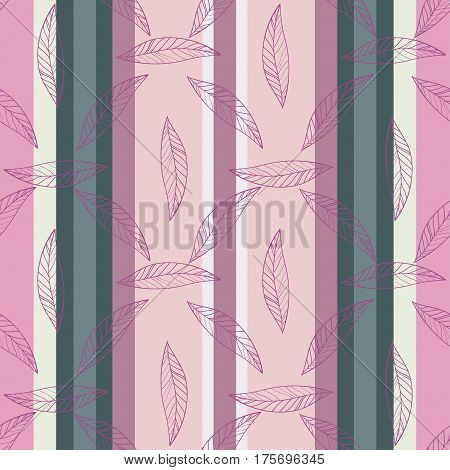 Seamless Trendy Pattern design with doodle spring leafs on striped background. design of wallpaper, fabric, card, packaging and decorative textile. Concept for womens day, Easter, birthday and other holidays