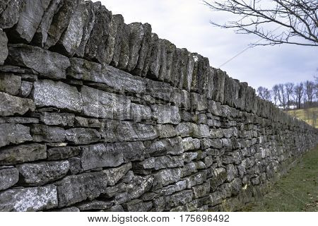 Close up of one of the famous stone fences in Lexington, Kentucky