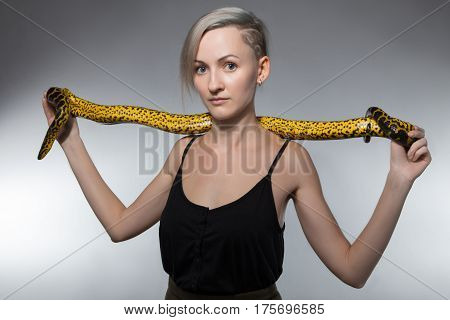 Woman stretching yellow snake on gray background