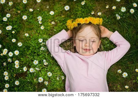 Little child with dandelion wreath daydreaming in grass full of daisy flowers - above view