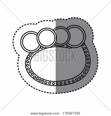 monochrome sticker of oval speech with four circles in top side vector illustration
