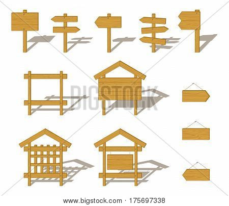 Set of Wooden Plank Boards, Billboards, Arrow Pointers and Signs with Shadows, Isolated on White Background. Vector