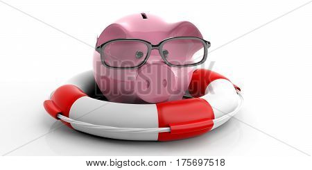 Life Buoy And Piggy Bank On White Background. 3D Illustration