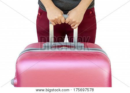 Woman Holds Pink Suitcase