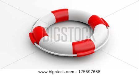 Life Buoy On White Background. 3D Illustration