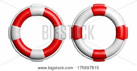 Life Buoys On White Background. 3D Illustration
