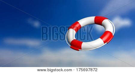 Life Buoy On Blue Sky Background. 3D Illustration